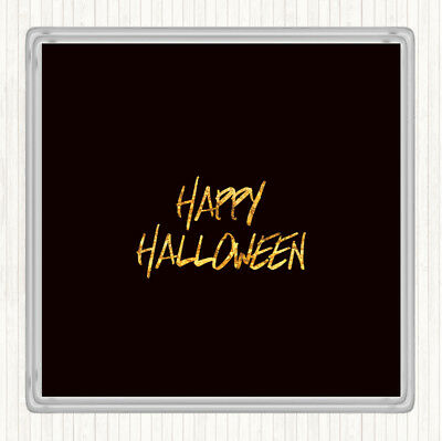Black Gold Halloween Quote Drinks Mat Coaster - Halloween Drinking Quotes