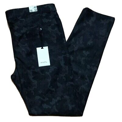 Hiltl Mens Tierre-E Trousers 40W 34L Camouflage Wool Flat Front Slim Fit Grey
