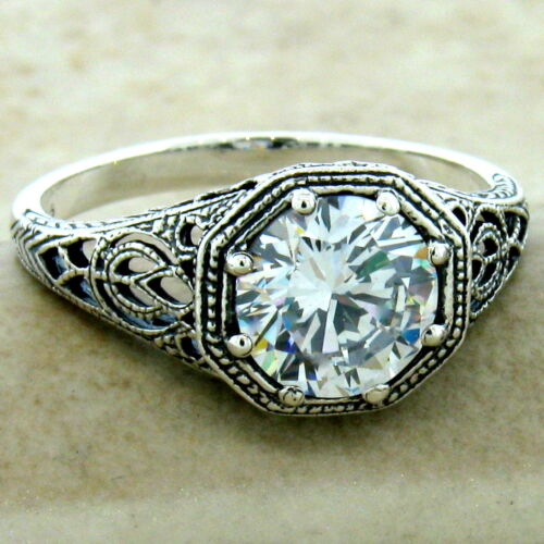 WEDDING ENGAGEMENT 925 STERLING SILVER ANTIQUE FINISH CUBIC ZIRCONIA RING, #1146