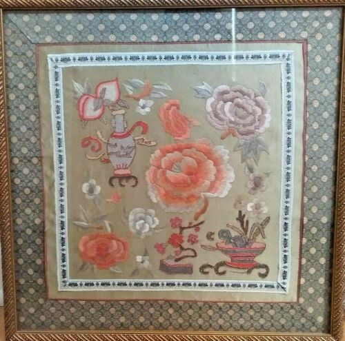 ANTIQUE CHINESE EMBROIDERY FORBIDDEN STITCH FRAMED PANEL GOLD