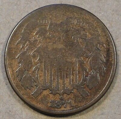 1871 TWO CENT PIECE NEARLY FULL RIMS OLD CLEANING