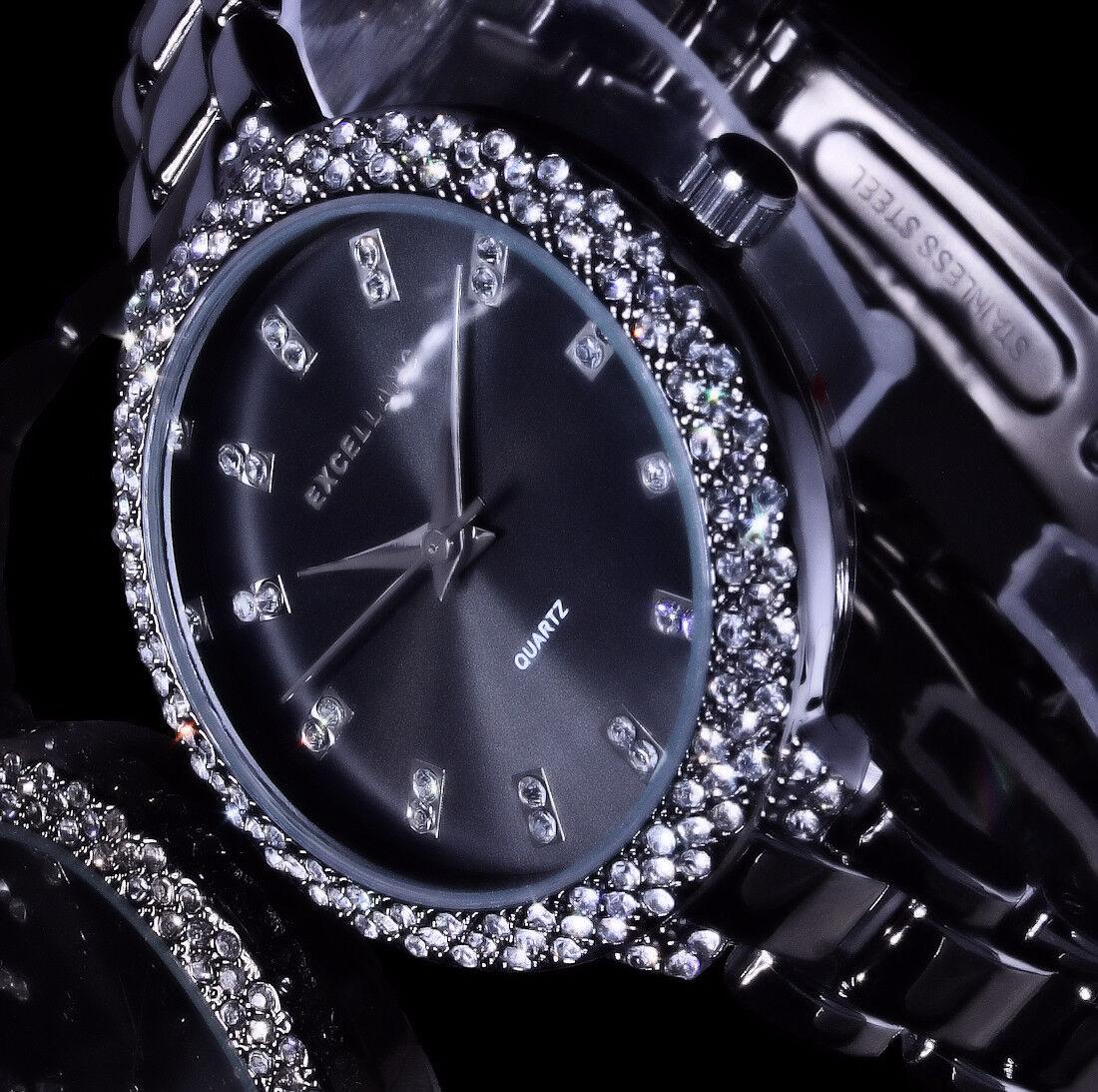 kleine Excellanc Damen Armband Uhr Schwarz Anthrazit Metall Strass