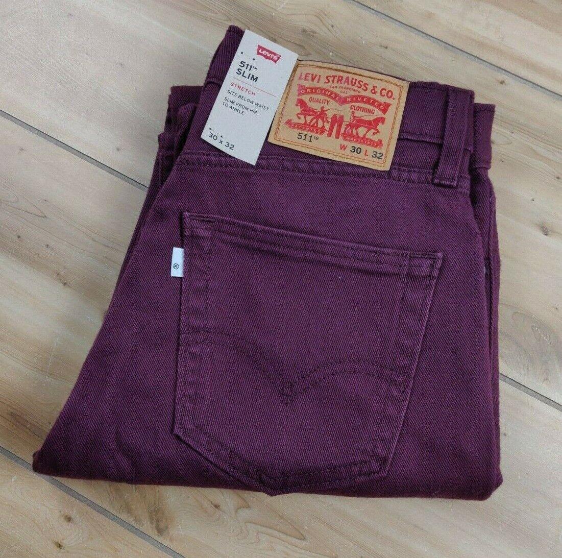 New Levis 511 Slim Fit Tencel Burgundy Stretch Jeans Mens Size 30x32 Wine - $39.95