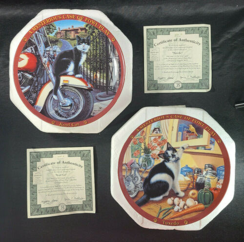 Higgins Bond KOOL CAT Motorcycle TUXEDO Collector Plate Lot Mint Vintage 🐈