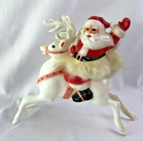 VINTAGE MID CENTURY CHRISTMAS HARD PLASTIC SANTA RIDING REINDEER