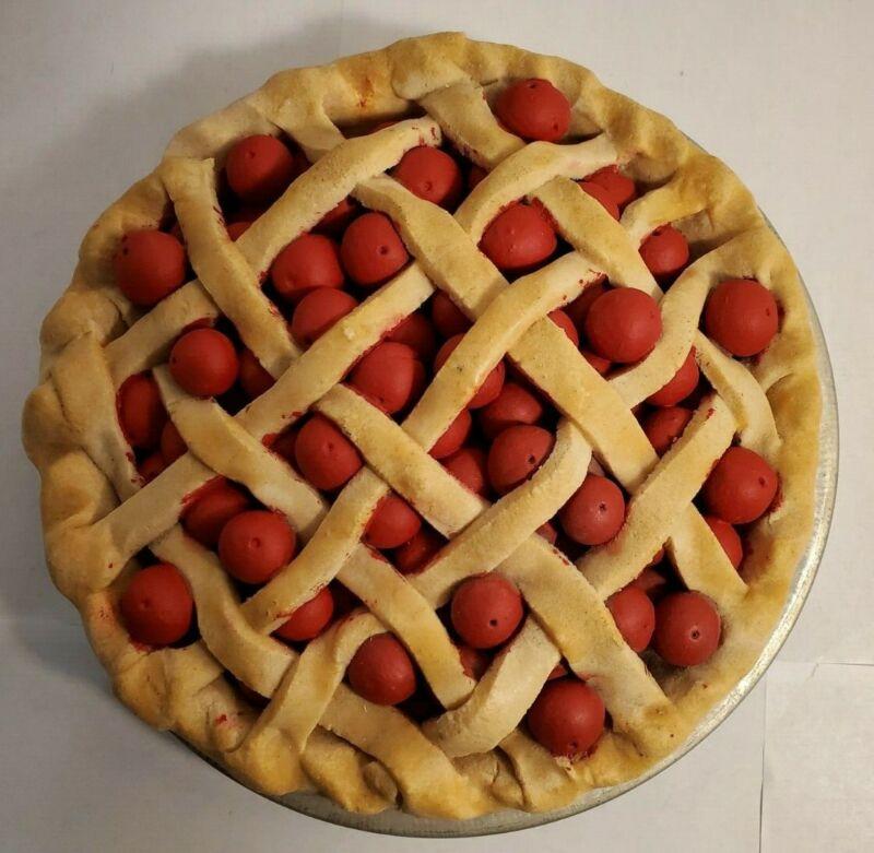 """Lattice Cherry Pie Fake ~ Actual Pie Size 9"""" ~ Pie Tin is Poppin Fresh Pies"""