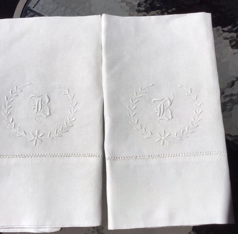 "Pair Antique Linen Pillow Cases Monogrammed ""B"""