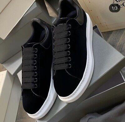Alexander McQueen Black Velvet Trainers Size 38 UK 5