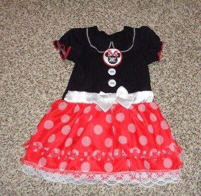 Toddler Girls Disney Minnie Mouse Dress Halloween Costume Red White Black 2T EUC