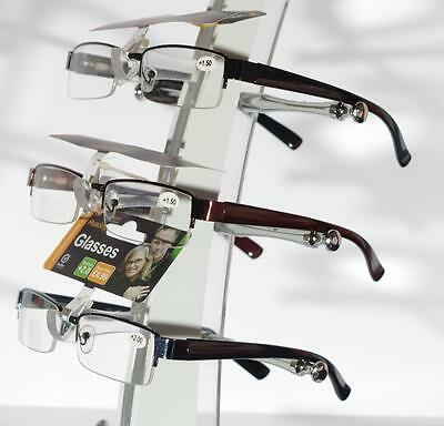 Reading Glasses, Unisex / Mens Ladies Trendy Designer, Spring Hinged, Black Gun