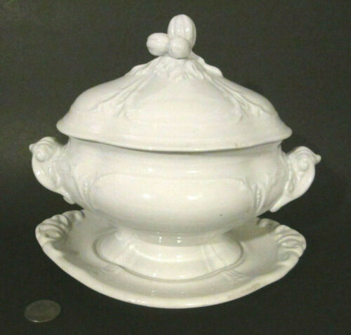 Antique 1850s JACOB FURNIVAL White Ironstone BERRY CLUSTER Sauce Tureen & Plate