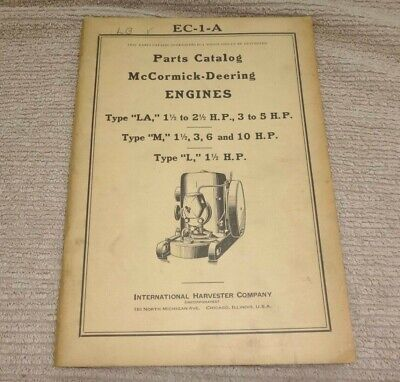 Ihc Ec-1-a Parts Catalog Mccormick-deering La M L Old Gas Engines 6-27-38