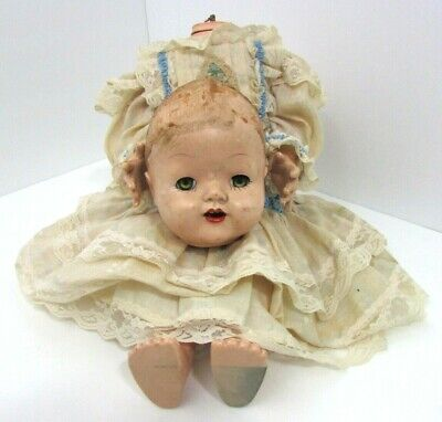 "Vtg 19"" Decapitated Creepy Doll In Victorian Dress Sleeps Teeth Halloween Prop"