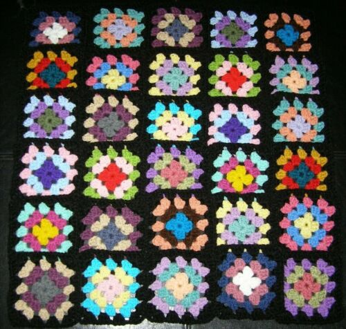 "30 Crochet Granny Squares Blocks for Afghan 4.5"" Multicolored With Black Border"