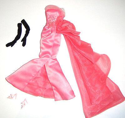 Silkstone Barbie Fashion Pink Satin Gown For Barbie Dolls gg1