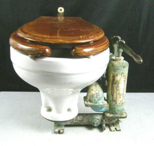 Vintage Wilcox Crittenden Seaclo Skipper Brass Head Mate Porcelain Toilet Loo