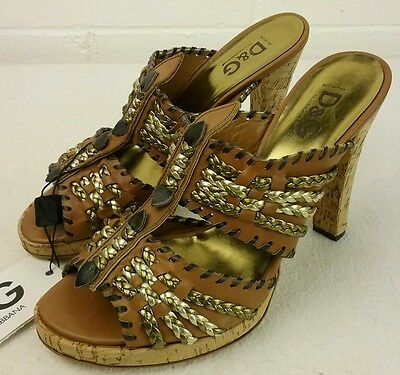 NEW Dolce & GABBANA Gold & Leather Cork Heel Open Toe Sandals Braided Details 40