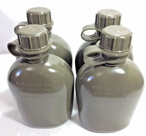 NEW, US MILITARY 1 QUART PLASTIC CANTEEN, OD GREEN COLLAPSIBLE, 4 PACK