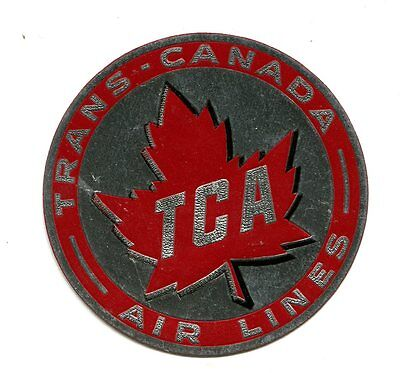 Vintage Airline Luggage Label Tca Trans Canada Airlines Red Maple Leaf