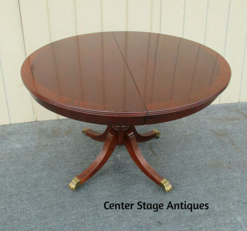 """62366   Banded Mahogany Round Dining Table with 1 leaf   44"""" x 62"""" top"""