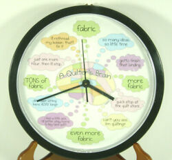 Quilters Brain Wall Clock Quilting Theme Decorative Sewing Craft Room Seamstress