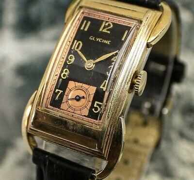 🔥Vintage mens 1940s Glycine SPIDER LEG LUG CASE Super UNIQUE Art Deco Watch NR!