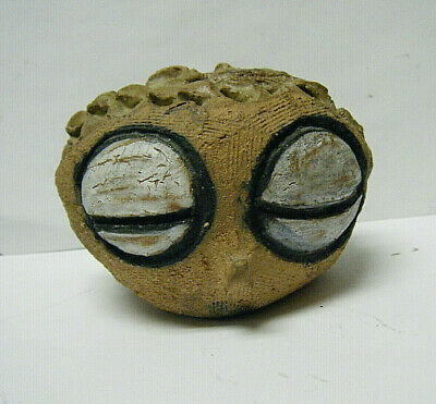 Unusual Vintage Modern Pottery Head Huge Alien Eyes Face Flower Frog