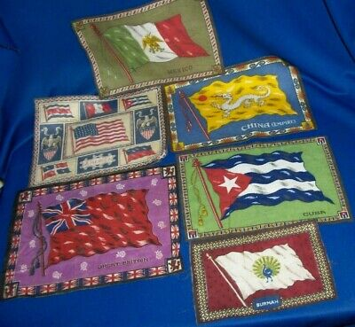 6 Country Flag Tobacco Felts c1910s Mexico China Cuba Americas Great Britain +