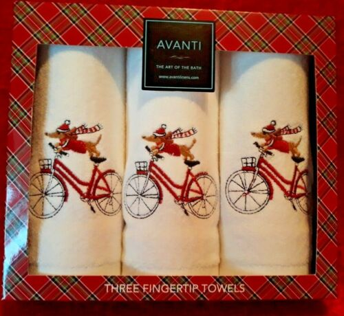 NEW Avanti Set of 3 Embellised Embroidered Fingertip Towels Dachshund on Bicycle