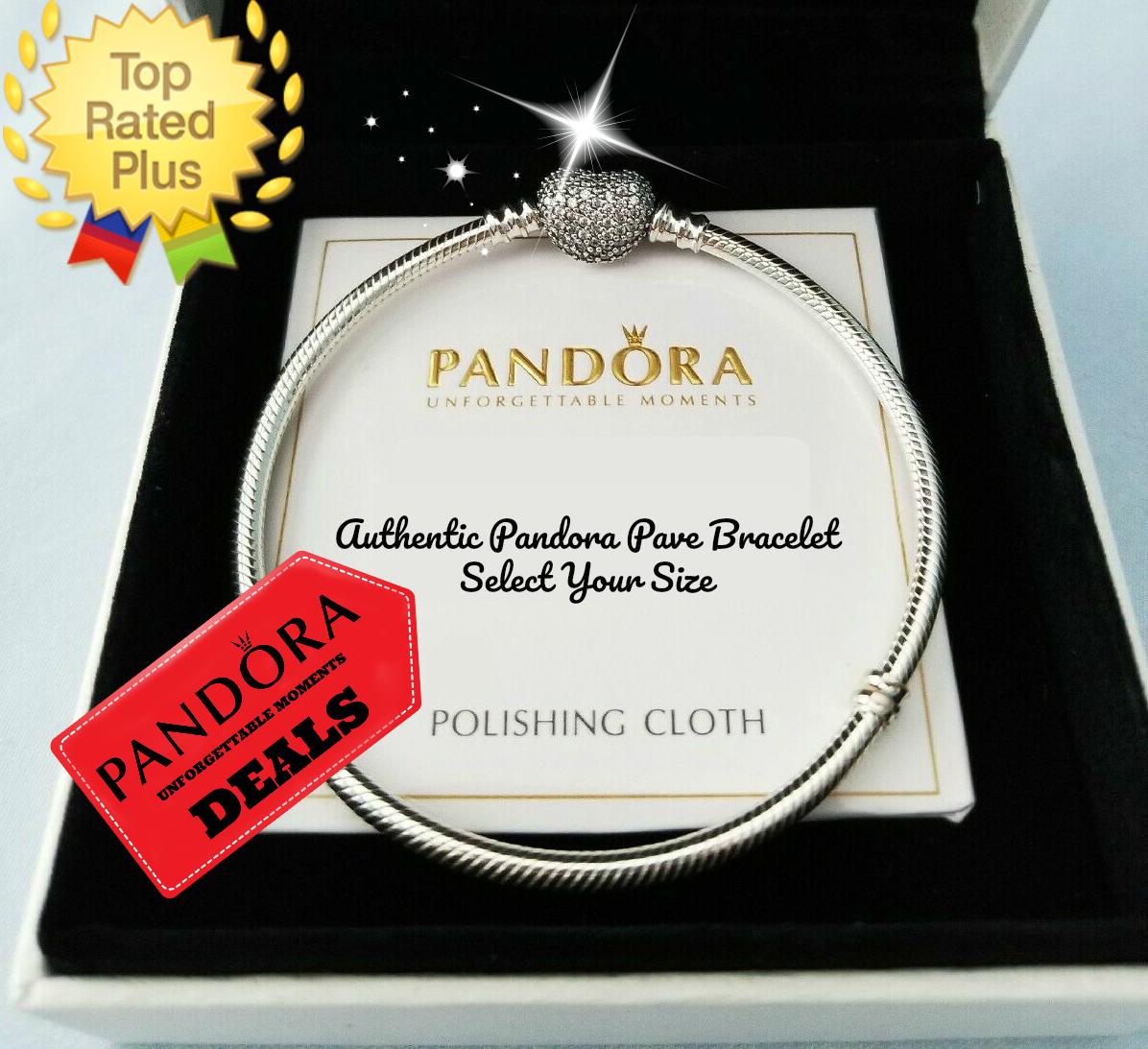 AUTHENTIC Pandora PAVE Heart Bracelet Sterling Silver Snake