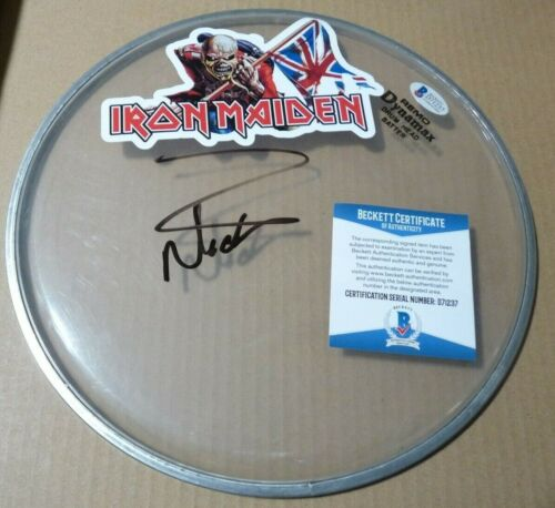 """Nicko McBrain Iron Maiden Trooper Signed Autographed BAS Certified 10"""" Drumhead"""