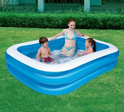 "Bestway Inflatable Family Swimming Paddling Pool Rectangular 79""x59""x20"" - Blue"