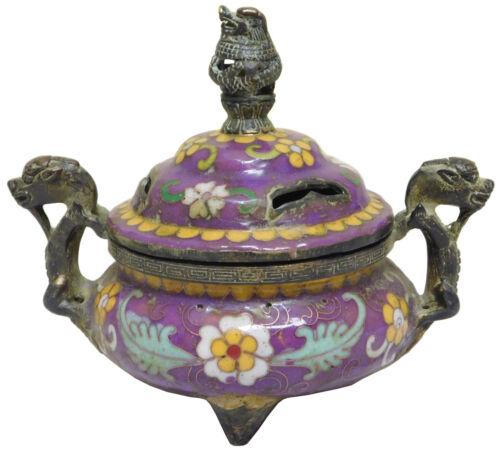 Handmade Chinese Metal Purple Enamel Cloisonne Incense Burner Figure cs2100