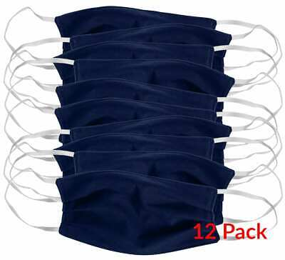 12 Face Mask Organic Blue Cotton Multi Layer Masks Washable Reusable USA seller