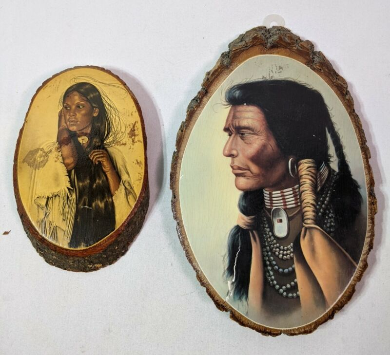 2 Vintage Wood Slice Plaque Wall Hanging Native American Indian mystery spot
