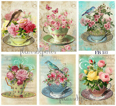 ~ Shabby Chic Vintage Birds & Teacups Pink Roses 6 Prints on Fabric FB 577 ~