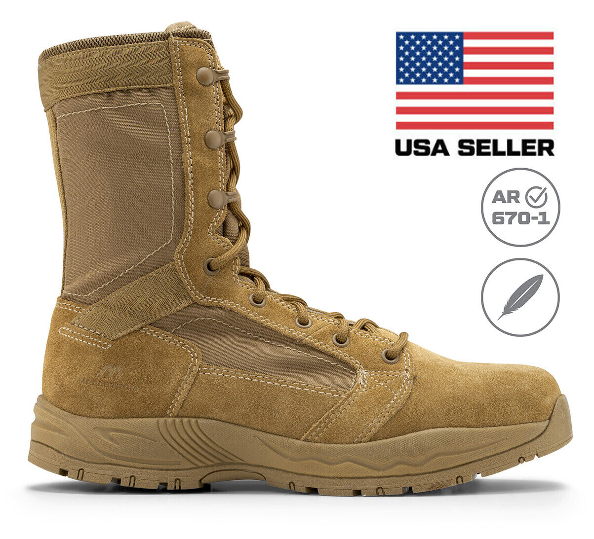 Maelstrom Mil Lite Men's 9'' Coyote Brown Military Boot AR 670-1 Compliant