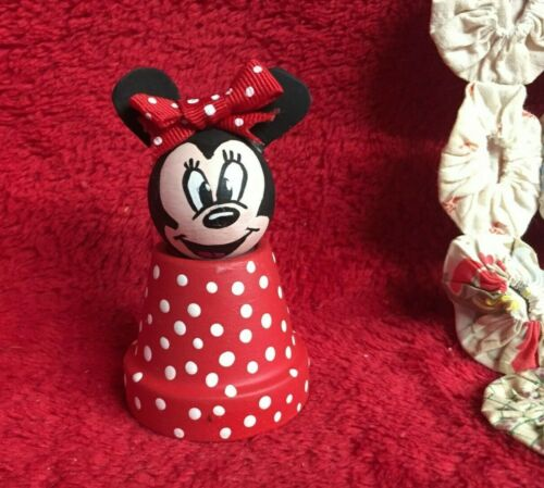 Handcrafted Handmade Minnie Mouse Figurine Crafted From Mini Terra Cotta Pot