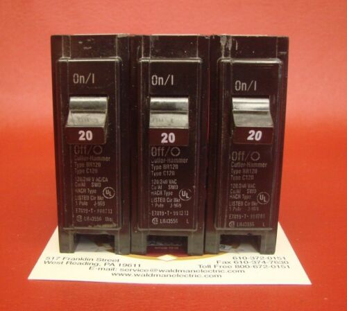Lot of 3 - 20 Amp Cutler-Hammer/Challenger BR120 C120 1 Pole Circuit Breakers