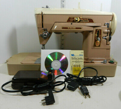 Vintage SINGER 403A Portable Sewing Machine with SINGER Card Table for Quilting
