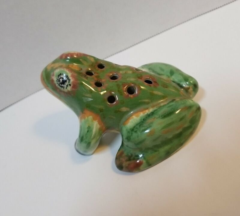 Vintage Pottery Flower Frog Garden Bull Frog Toad Hand Decorated UNKNOWN MAKER