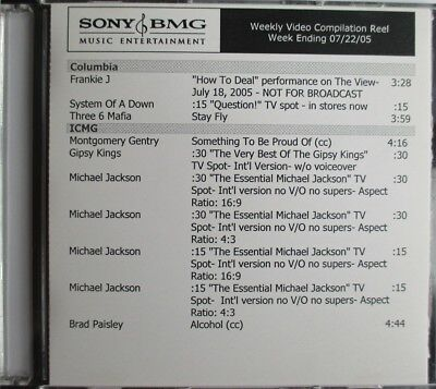 "MICHAEL JACKSON - OASIS - R. KELLY - THREE 6 MAFIA - ""SONY BMG 2005 PROMO DVD"" segunda mano  Embacar hacia Spain"