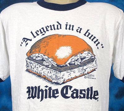 NOS vtg 80s WHITE CASTLE BURGER LEGEND IN A BUN PAPER THIN RINGER T-Shirt LARGE