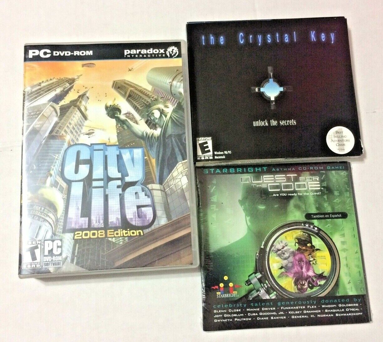 Lot Of 3 PC Video Games On DVD CD-ROM CIty Life, Crystal Key Code Quest  - $2.99