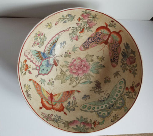 Large Tan/pink Porcelain Decorative Bowl with flowers & Butterflys Made in Macau