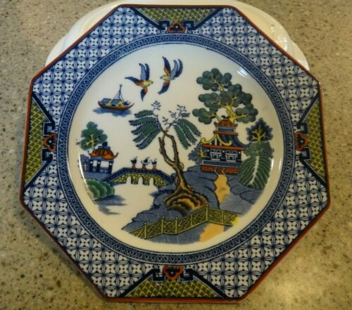 ANTIQUE BLUE WILLOW GAUDY OCTAGON SHAPED PLATE HARD TO FIND
