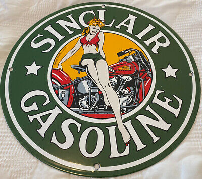 VINTAGE SINCLAIR GAS STATION PORCELAIN SIGN MOTOR OIL PIN UP INDIAN MOTORCYCLE