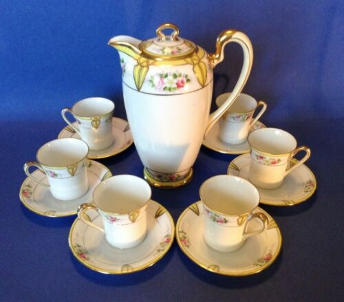 Noritake Nippon Chocolate Teapot Set - Roses Daisies And Yellow Accents - Japan