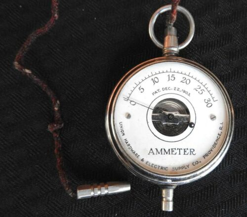 1904 Antique Pocket Watch AMMETER Union Hardware Electrical Supply PROVIDENCE RI