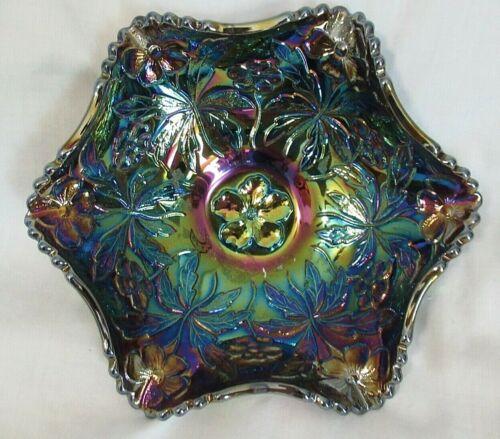 Fenton Carnival Glass Scalloped Candy Dish/Bowl Blue/Purple Iridescent Amethyst